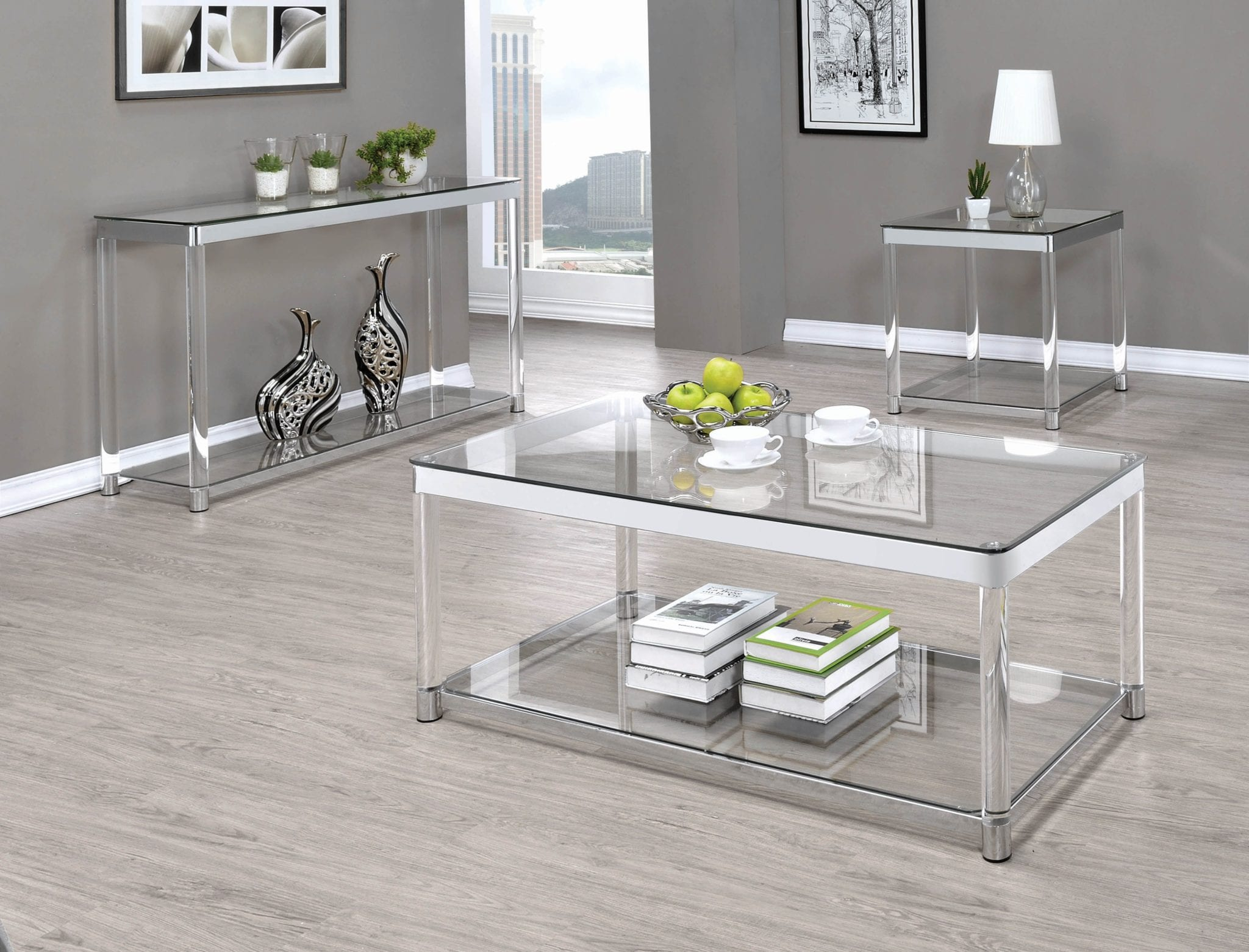 Picture of: Coaster Claude Chrome 3 Piece Glass Top Coffee Table Set Luchy Amor Furniture