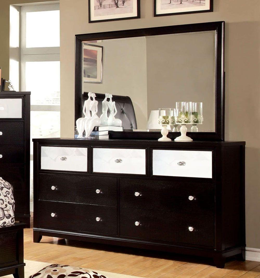 Cm7288d Bryant Modern Black Dresser Mirror Set Luchy Amor Furniture