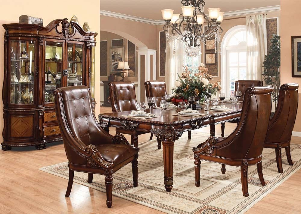 60075 Cherry Wood Dining Table Set, Cherry Wood Dining Room Sets